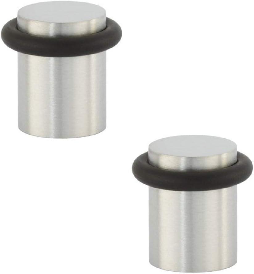 EVI Herrajes 0401602UAM Pack de 2 topes de puerta (acero inoxidable), Negro Mate, 18x24mm