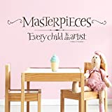 Every Child Is An Artist | Picasso Wall Quote - Kids Art Display Decal - Playroom Wall Decor - Masterpieces Wall Decal