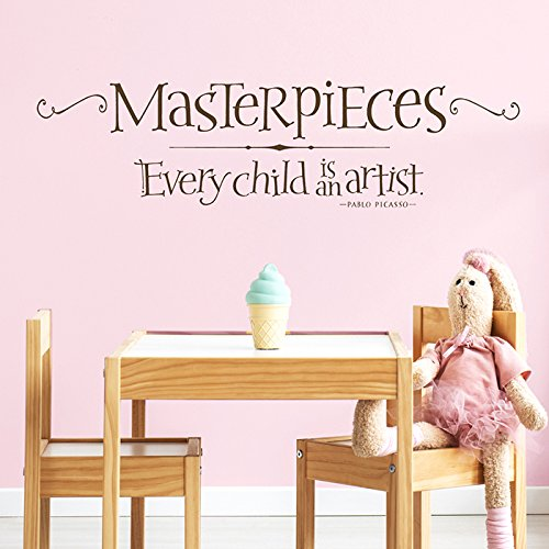 Every Child Is An Artist | Picasso Wall Quote - Kids Art Display Decal - Playroom Wall Decor - Masterpieces Wall Decal by Old Barn Rescue