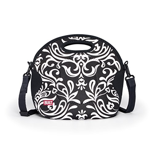 BUILT NY Spicy Relish Designer Neoprene Lunch Tote, Black and White Damask (LB12-DBW)