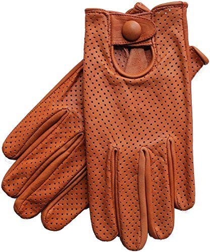 (Riparo Women's Genuine Leather Mesh Perforated Driving Motorcycle Gloves (X-Small, Tan) )