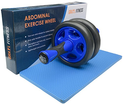 Grail Fitness Dual Ab Roller Wheel with Mat for Abdominal Exercise and Fitness -Heavy Duty and Portable