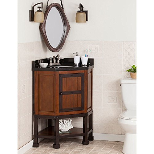 - Emery Corner Bath Vanity Sink in Cherry Brown