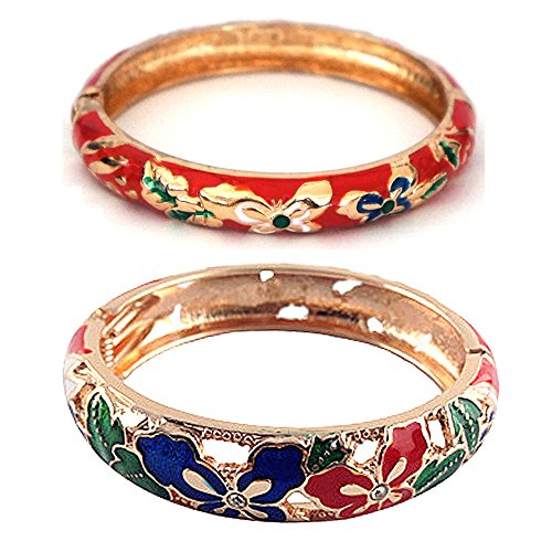 UJOY Fashion Cloisonne Bracelets Golden Filigree Butterfly Enameled Womens Gifts Bangles Spring Hinged 88A09 red