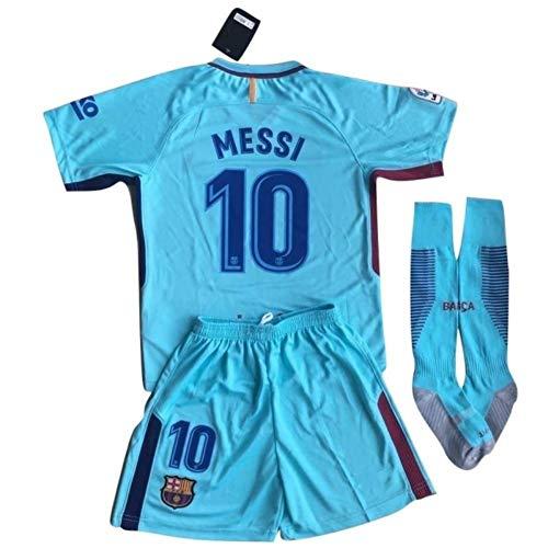 (ZhEnxiAN Messi #10 FC Barcelona 2017-2018 Youths Away Soccer Jersey with Socks Set (9-10 Years) Blue)