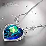 """QIANSE """"Heart of Ocean White Gold Plated Necklace Love Heart Necklaces for Women, Fashion Jewelry for Her - Perfect for Festive Occasions!"""