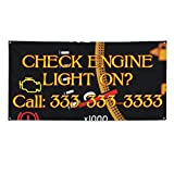 Check Engine Light On #2 Outdoor Fence Sign Vinyl Windproof Mesh Banner With Grommets - 2ftx3ft, 4 Grommets