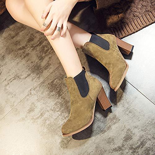 Pour Office Bottines Party Block Chaussures À Daim Brown slip Boots Talons Court Bottes Non Hauts Stacked Femmes Heels Chelsea Faxf6qEwA