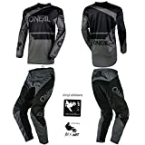 O'Neal Element Racewear Black/Gray Adult motocross MX off-road dirt bike Jersey Pants combo riding gear set (Pants W32 / Jersey Medium)