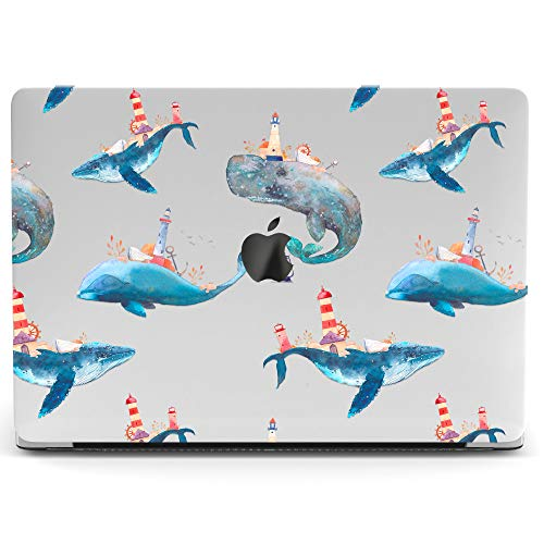 Wonder Wild Mac Retina Cover Case for MacBook Pro 15 inch 12 11 Clear Hard Air 13 Apple 2019 Protective Laptop 2018 2017 2016 2015 Plastic Print Touch Bar Cute Animal Whale Lighthouse Isle Tower Blue (Macbook Pro Case Lighthouse)