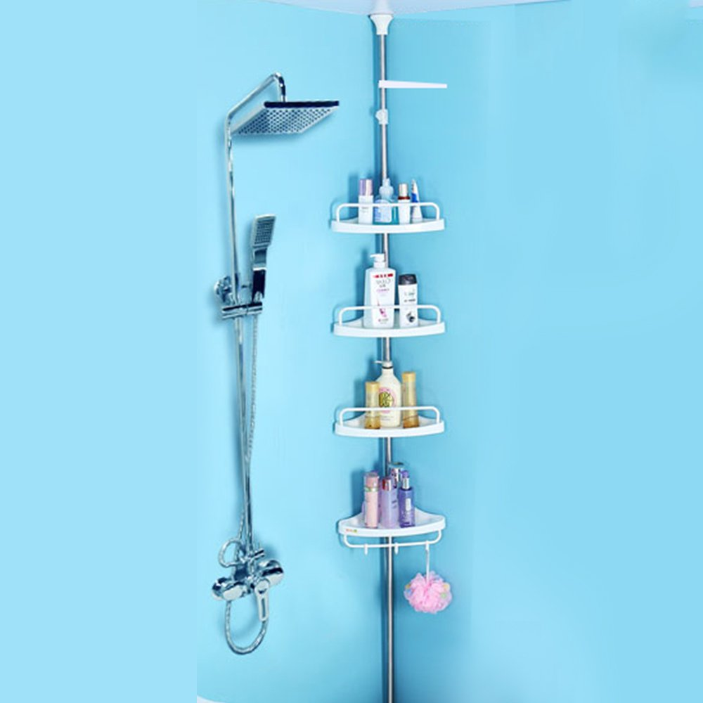 4 Tier Adjustable Kitchen Bathroom Shower Corner Shelf Rack Towel ...