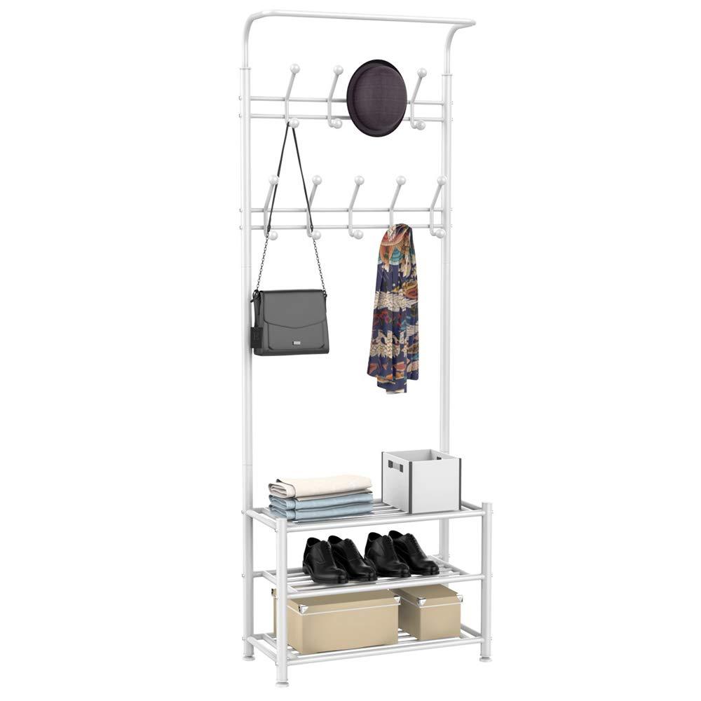 Topeakmart New Coat Rack Metal Coat Clothes Shoes Hat Umbrella Bag Steel Pipe Stand Rack Hanger Hooks