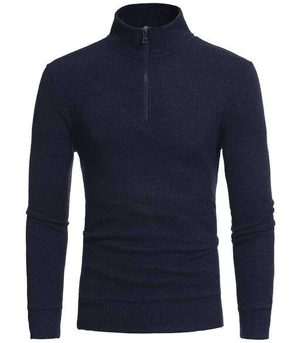 UUYUK Men Turtle Neck Half Zipper Long Sleeve Knit Casual Pullover Sweater