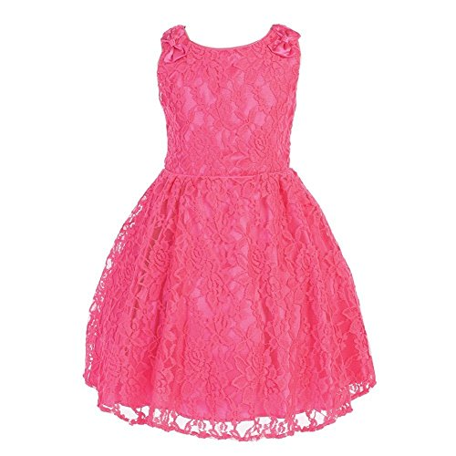 Price comparison product image Angels Garment Big Girls Hot Pink Charmeuse Lace Flower Girl Easter Dress 9-10