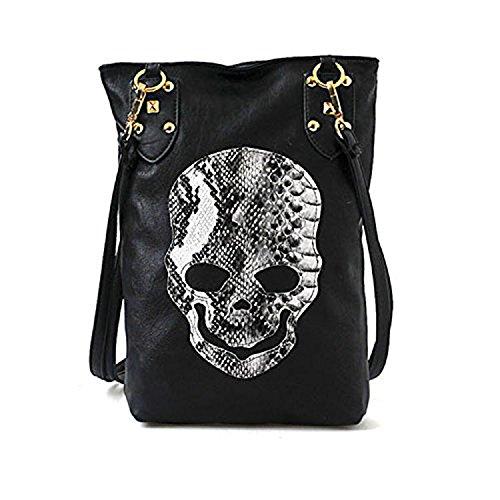 Micom Vintage Pu Skull Rivet Hobo Shoulder Handbag Crossbody Tote Bag