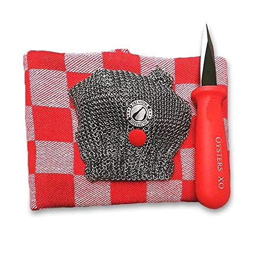 Cheap Oysters XO Oyster Shucking Chef's Set includes One Oysters XO Mesh Mitt, Two Oyster Shucking Knives and Two Classic Dutch Kitchen Towels