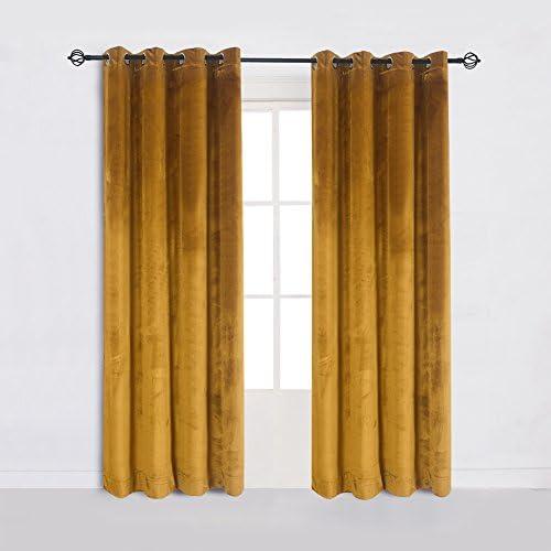 Cherry Home Super Soft Luxury Velvet Set of 2 Warm Yellow Blackout Velvet Energy Efficient Grommet Curtain Panel Drapes Ginger Mustard Curtain Panels 52Wx108L