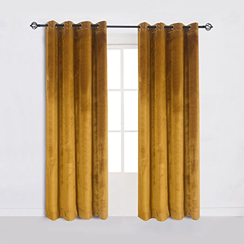 - Super Soft Luxury Velvet Set of 2 Warm Yellow Blackout Energy Efficient Grommet Curtain Panel Drapes Ginger Mustard Curtain Panels 52Wx63L(2 panels) with