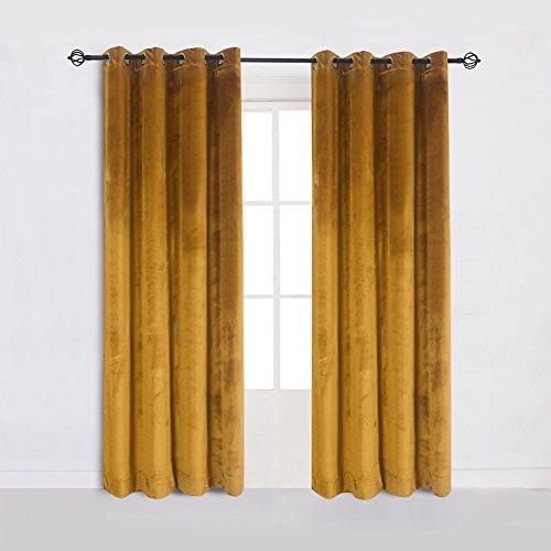 (Super Soft Luxury Velvet Set of 2 Warm Yellow Blackout Energy Efficient Grommet Curtain Panel Drapes Ginger Mustard Curtain Panels 52Wx63L(2 panels) with)