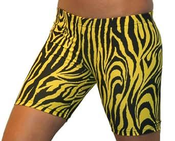 Zebra Spandex Shorts 6 in. Inseam (Adult M 8-10, Gold/Black)