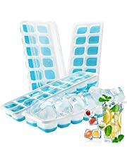Ice Cube Trays 4 Pack, Easy-Release Silicone & Flexible 14-Ice Cube Trays with Spill-Resistant Removable Lid, LFGB Certified and BPA Free, for Cocktail, Freezer, Stackable Ice Trays with Covers