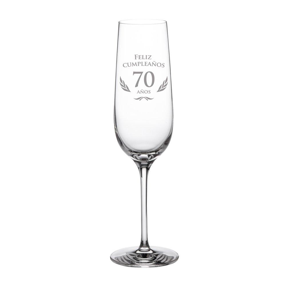 AMAVEL – Copa de Cava para Cumpleaños – 18 Cumpleaños – Con Elegante Felicitación – Idea de Regalo para Cumpleaños – Regalo para Hombres y Mujeres – Copa de Champán o de Prosecco – Copa con Forma de Tulipa