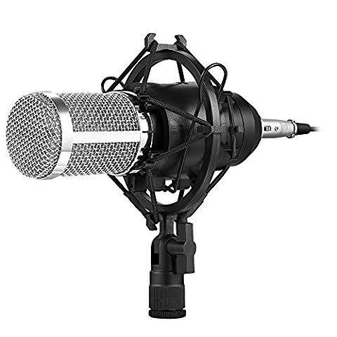 Professional Condenser Microphone, AVANTEK Plug and Play Studio Broadcasting & Recording Mic with 10 ft Cord for Computer, 3.5 mm, Black
