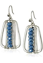 Kenneth Cole New York Woven Blue Faceted Bead Wire Wrapped Geometric Drop Earrings