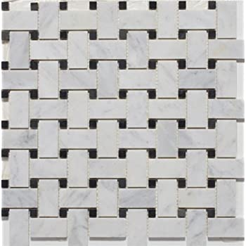 White Marble Basketweave POLISHED Mosaic Tiles with Black Dots. White Marble Basketweave Mosaic Tile Black Dots 1 x 2 Polished