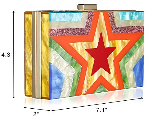 Women Acrylic Clutch Purses For Women with Chain Strap Striped Desiger