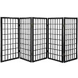 Oriental Furniture 3-Feet Window Pane Japanese Shoji Privacy Screen Room Divider, 5 Panel Black