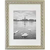 Golden State Art, Ornate Finish Style, 11x14 Wall Picture Frame with Ivory Mat for 8x10 Picture and Real Glass, 1.5-inch wide, Color: Silver-Beige