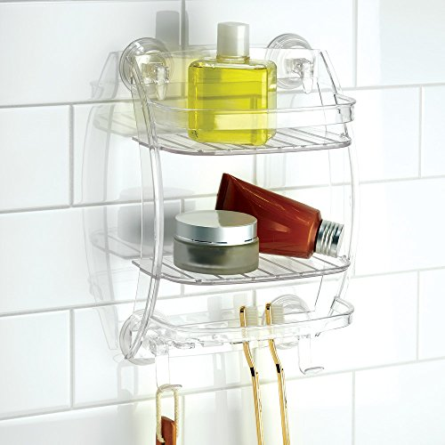 InterDesign Power Lock Suction Bathroom Shower Caddy Organizer For Shampoo, New