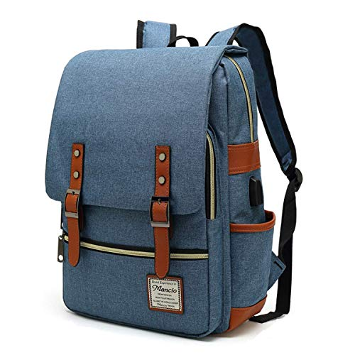 MANCIO Slim Laptop Backpack For women,Man with USB Charging Port For Travel,College,School. Fits up to 15.6Inch Macbook in Blue