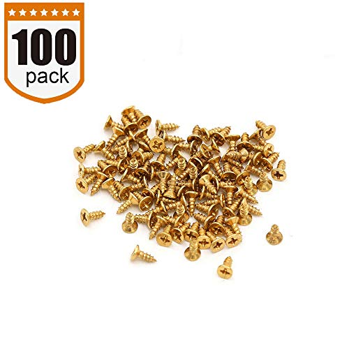 Small Screw, BLUELEC Antique Style AntiOxidative Finish Wood Screws for Fastening Plank, Plastic Materials or Resin Plywood, 45° Flat Head, Phillips Drive, 100pcs, 1/4 Inch(2.5×6mm, Gold) (Best Screws For Plywood)