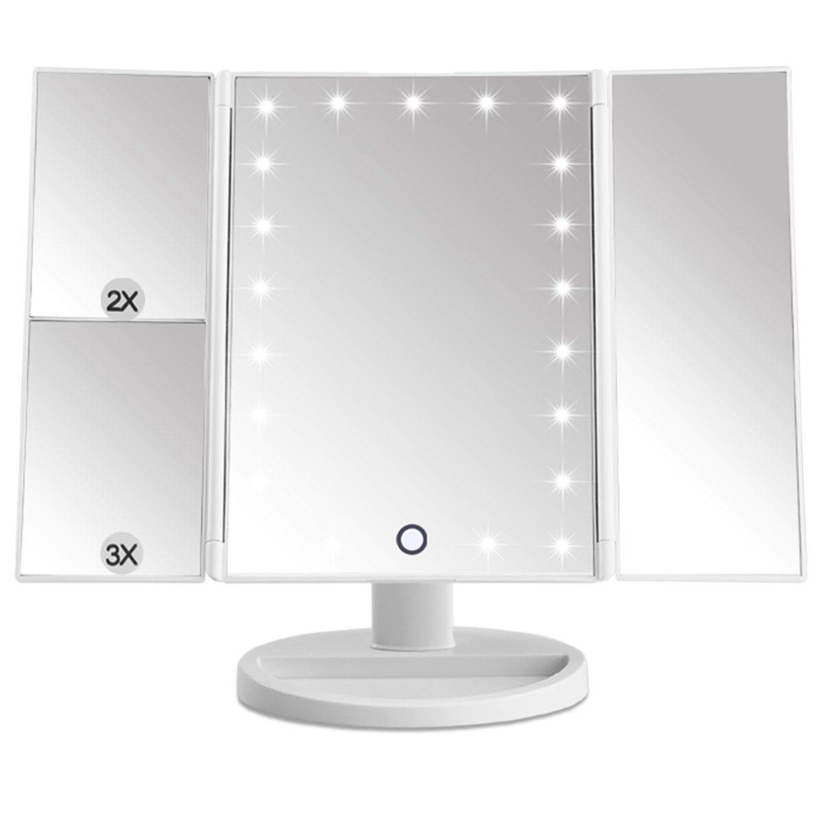 Makeup Mirror EMOCCI 21 LED Lighted Vanity Mirrors Tri-Fold Adjustable With 3X 2X Magnification 180 Degree Rotation USB Charging For Cosmetic Travel Tabletop Countertop Bathroom (White)