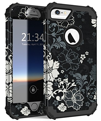 iPhone 6s Case, iPhone 6 Case, Hocase Shockproof Silicone Rubber+Hard Plastic Hybrid Full Body Protective Phone Case for iPhone 6/6s with 4.7-inch Display - Classic Black/White Flowers