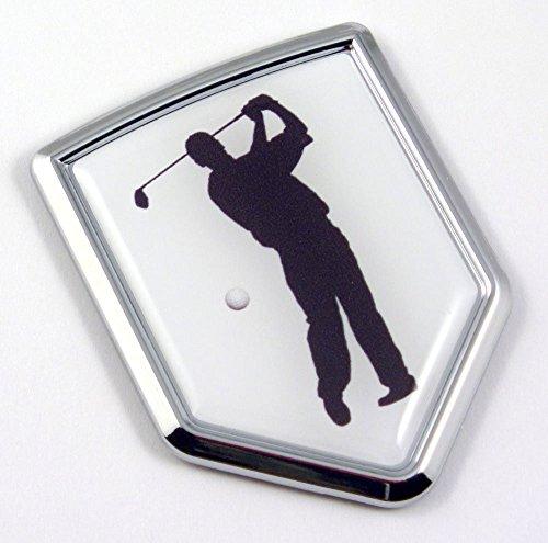 Golf Golfer Chrome Emblem 3D Decal Sticker Car sport (Lightweight Plastic Sports Badge)