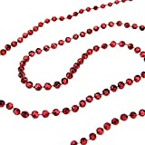 St. Nick's Choice Shiny Metallic Faceted Crimson Red Beaded Christmas Garland 15' x 6mm