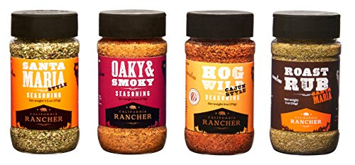 (Ultimate Seasoning Set by California Rancher, 4 Craft BBQ Dry Rubs & Seasonings)