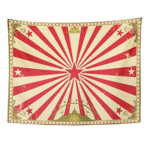 Emvency Tapestry Carnival Circus Vintage for Your Perfect Size Screen Marquee Cabaret Home Decor Wall Hanging for Living Room Bedroom Dorm 60x80 inches]()