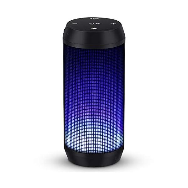 Enceinte Bluetooth Portable Lumineuse Haut-Parleur Bluetooth sans Fil avec LED Lumière Radio FM Fonction TF Carte TEL ELEHOT 1
