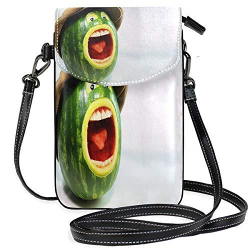 Unique Watermelon Small Crossbody Bag Cell Phone Purse Womens Mini Leather Shoulder Bags (Diesel Buckle Closure Belt)