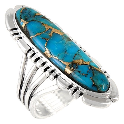 Sterling Silver Ring with Genuine Turquoise & Gemstones (SELECT color) (Teal/Matrix Turquoise, 8) by Turquoise Network (Image #4)