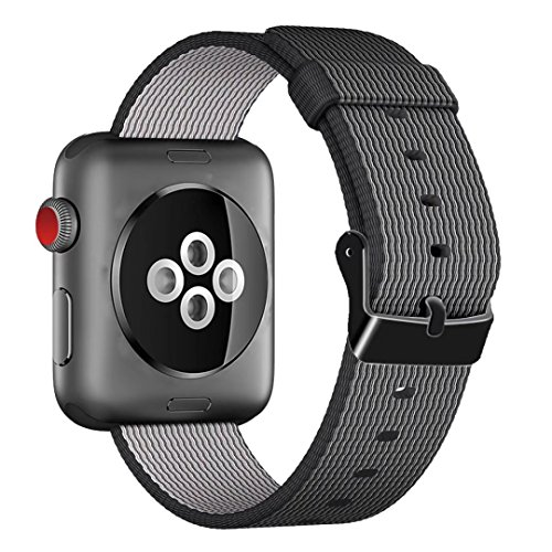 INTENY Woven Nylon Fabric Wrist Strap Replacement Band with Classic Square Stainless Steel Buckle Compatible for Apple Watch iwatch Series 1/2, Sport and Edition, 38 mm - Black