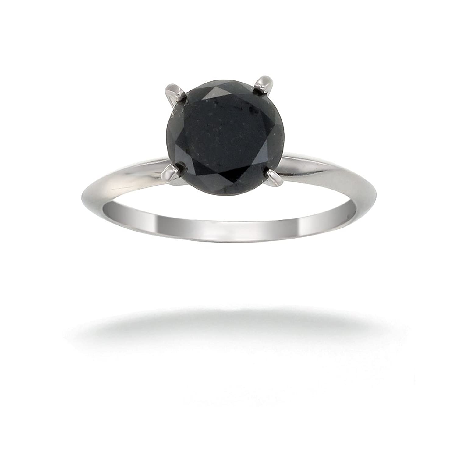 14K White Gold Black Diamond Solitaire Ring 2 CT