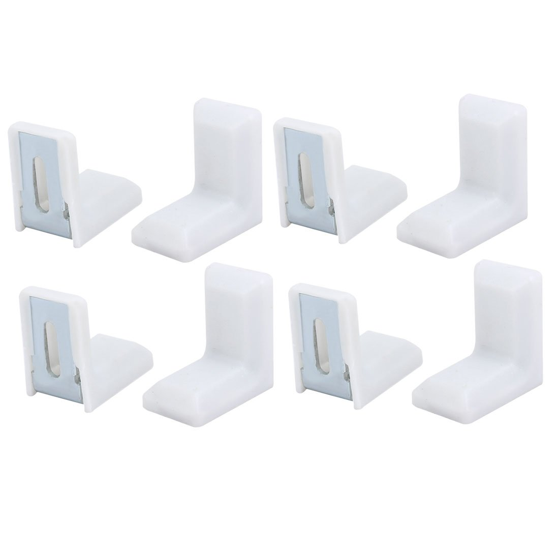 uxcell® Furniture Shelf 90 Degree Angle Brackets Corner Braces Supports White Silver Tone 20 Sets SYNCTEA024911