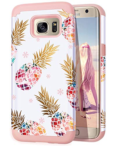Casewind Galaxy S7 Edge Case,Samsung Galaxy S7 Edge Fashion Pineapple case,2 in1 Hybrid Pineapple Design Cover Anti-Shock Resistant Skin Cover Case for Samsung Galaxy S7 Edge,Rose Gold