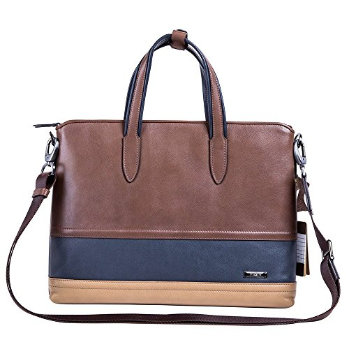 TIDIV Leisure Fashion Men's Genuine Cowhide Leather Business Briefcase High Capacity Handbag by TIDIV