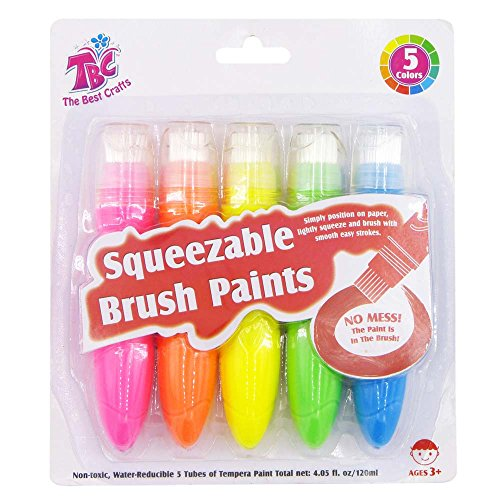 Brush Tempera Paint Tube - TBC Squeezable Brush Paints, Washable Tempera Paint Brushes, Assorted Neon Colors( 24ml/0.8oz Each), 5 Count Squeezable Tubes, Easy to Paint.